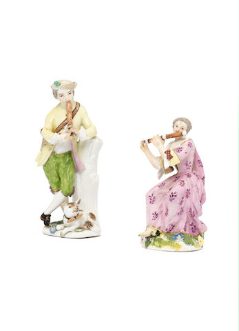 Two Meissen figures of musicians, circa 1750-60
