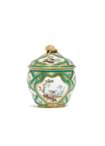 A Sèvres sugar bowl and cover, circa 1758-59