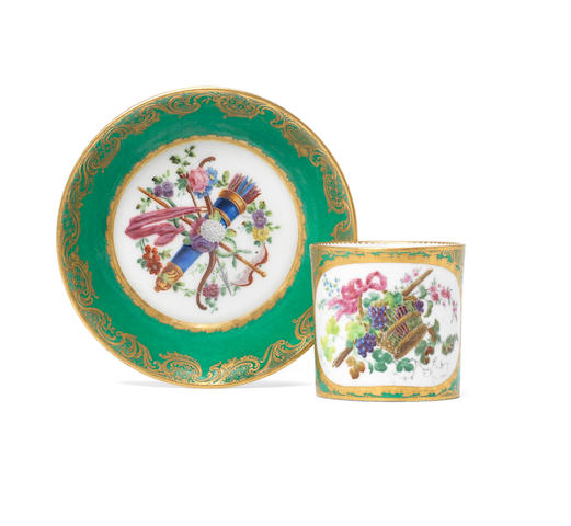 A Sevres green-ground cup and saucer