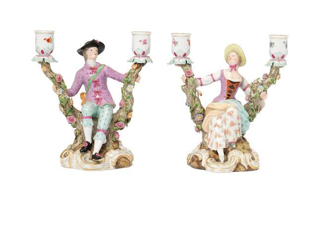 A pair of Meissen porcelain candelabrum,