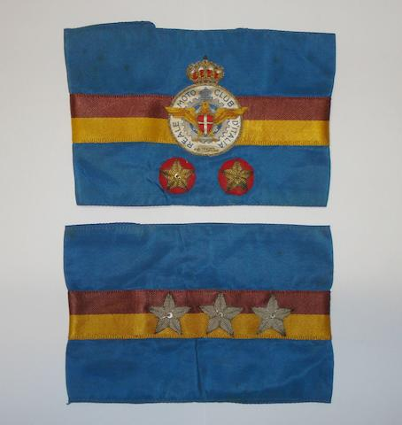 Two pre-War Reale Moto Club d'Italia armbands,
