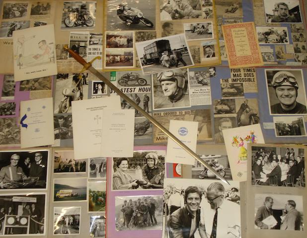 Lew Ellis' presentation Isle of Man Replica Sword, and his personal scrapbooks,