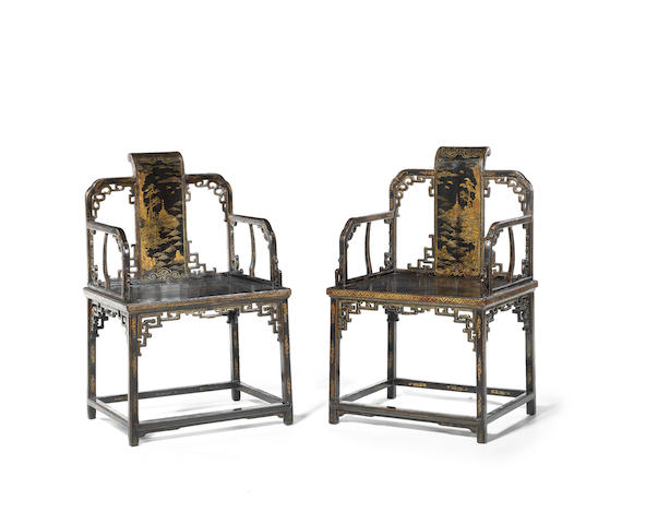 A very rare pair of Imperial elaborately-gilt black lacquer armchairs 18th century
