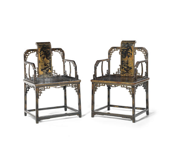 A very rare pair of elaborately gilt black lacquer armchairs 18th century, probably Imperial