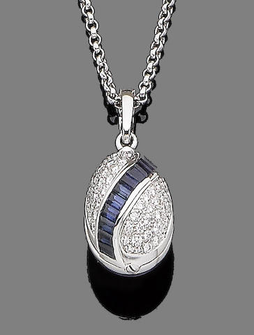 A sapphire, enamel and diamond egg pendant, by Fabergé