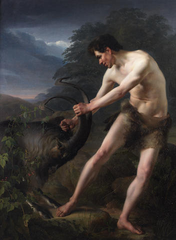 Friedrich Rehberg (Hanover 1758-1835 Munich) A young man fighting a goat