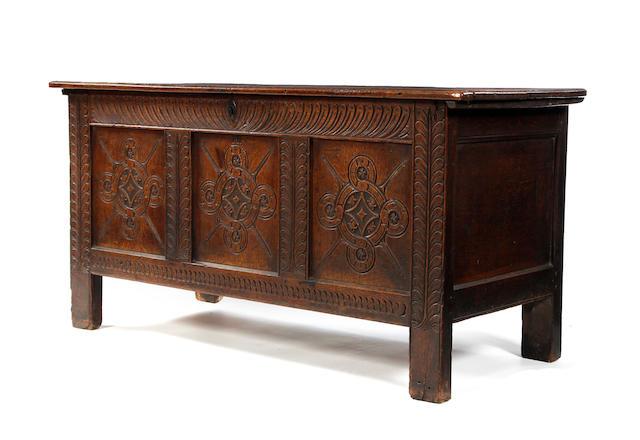 A Charles II oak coffer