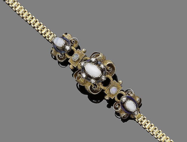 An opal, enamel and diamond bracelet