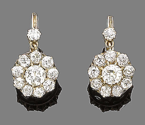 A pair of diamond cluster pendent earrings
