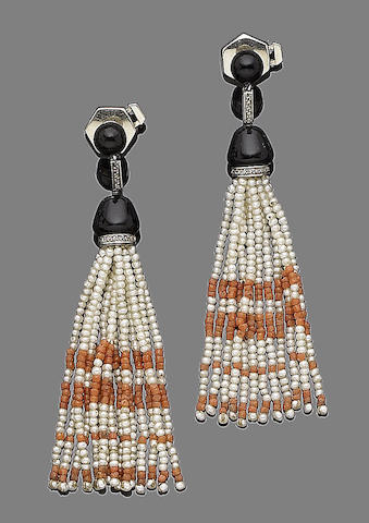 A pair of art deco onyx, pearl and coral earrings