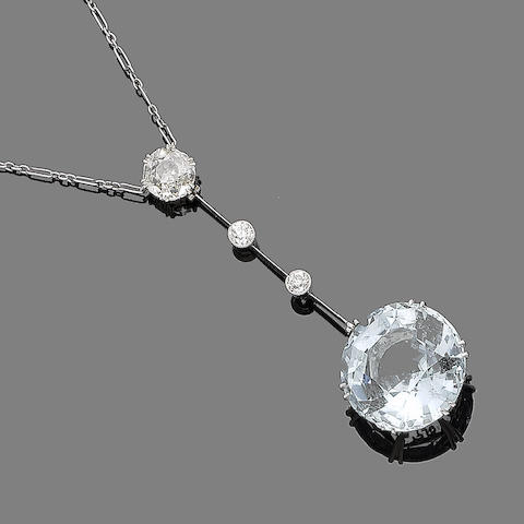 An aquamarine and diamond necklace,