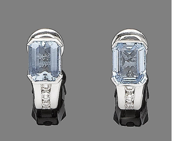 A pair of aquamarine and diamond earclips, by Boodles