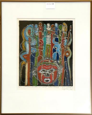 Bruce Onobrakpeya (Nigerian, born 1932) 'Basikolo Vapene' and 'Voni ve mo', a pair