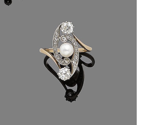 An art nouveau cultured pearl and diamond-set dress ring,