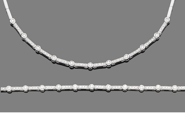 A diamond-set necklace and bracelet suite (2)