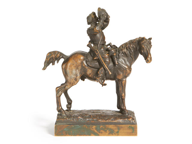 After Evgeny Lancere, Russian (1848-1886) A 19th century bronze model of The Thirsty Cavalier cast by Chopin Foundry