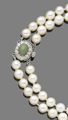 A two-strand cultured pearl necklace
