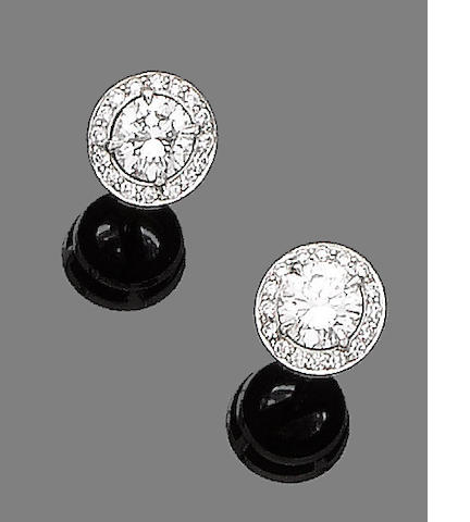 A pair of diamond earstuds, by Boodles