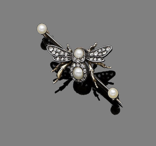 A seed pearl, opal and diamond bumble bee bar brooch,