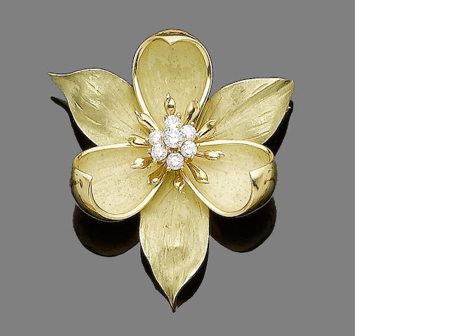 A diamond-set flower brooch, by Tiffany & Co.