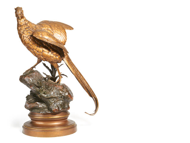Alfred Dubucand, French (1828 - 1894) A lifesize bronze model of a male pheasant -  Le Faisan et le lézard