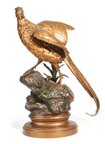 Alfred Dubucand, French (1828 - 1894) A lifesize bronze model of a male pheasant -  Le Faisan et le lézard
