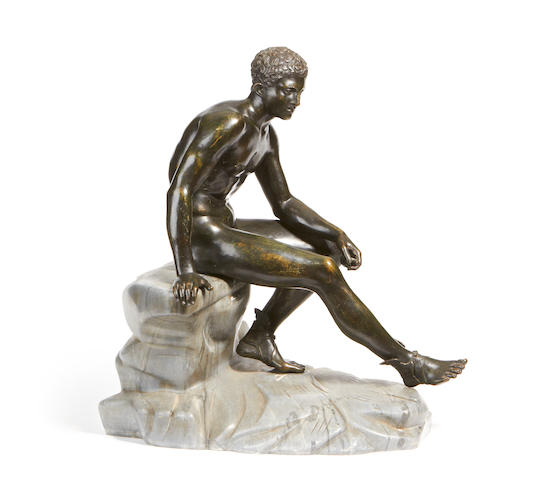 After the Antique: A late 19th century Neapolitan bronze figure of the Seated Mercury