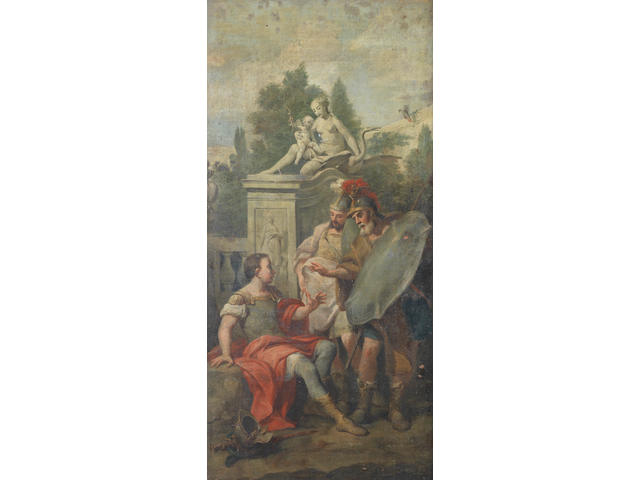 Circle of Marco Marcola (Verona 1740-1793) Erminia amongst the shepherds; Armida Abandoned; and Rinaldo Abducted 131 x 76cm (51 9/16 x 29 15/16in); 131.1 x 68.5cm (51 5/8 x 26 15/16in) and 131 x 63.4cm (51 9/16 x 24 15/16in). (3)