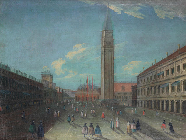 Follower of Luca Carlevarijs (Udine 1663-1730 Venice) The Piazza San Marco with the Campanile, Venice