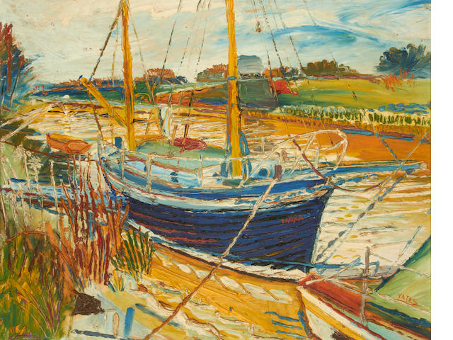 Fred Yates (British, 1922-2008) Moored up for the afternoon