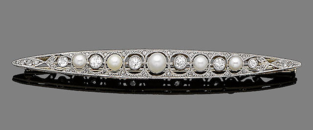 A cultured pearl and diamond bar brooch,