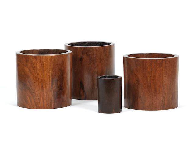 Three huanghuali brushpots