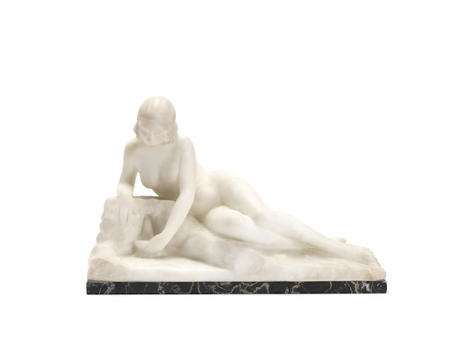 L. Morelli A Carved Alabaster Study of a Naked Maiden, circa 1920