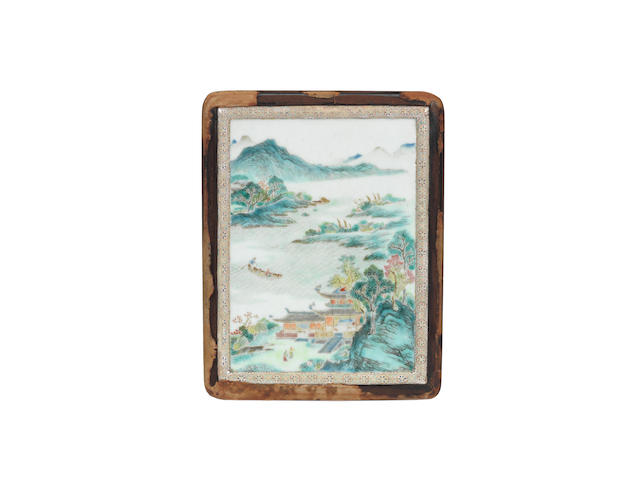 An unusual 18th Century enamel plaque mounted on wood-box depicting a Chinese mountain landscape