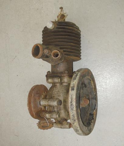 An unidentified single-cylinder motorcycle engine,