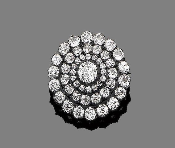 A diamond target brooch