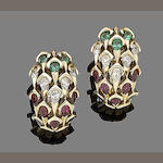 A pair of emerald, diamond, ruby and sapphire earclips, by Mauboussin