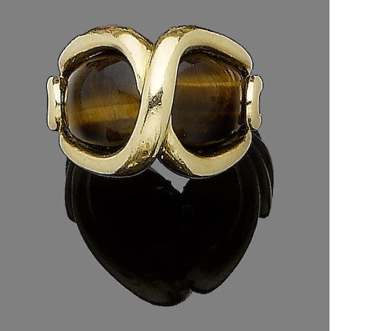 A tiger's eye ring,  by Cartier