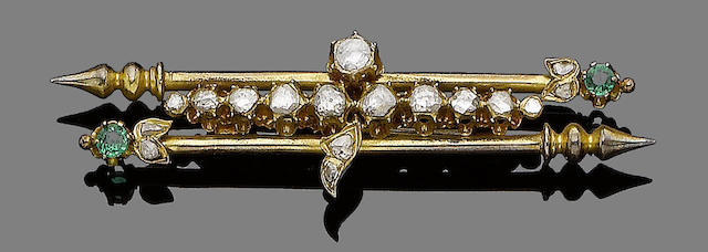 A green paste and diamond brooch