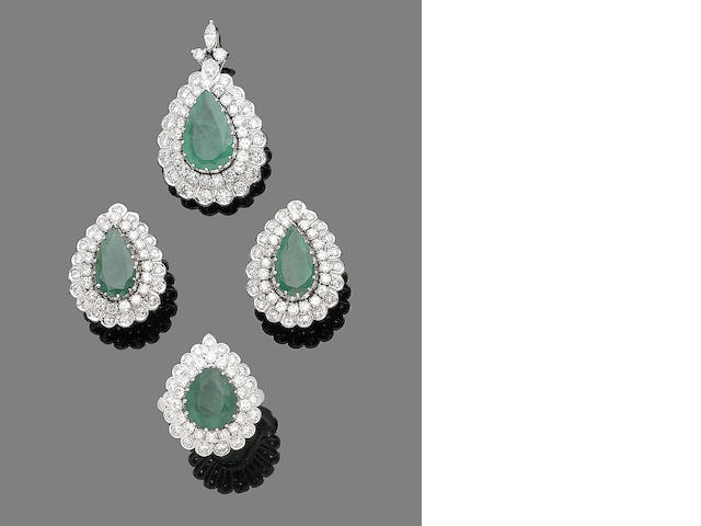 An emerald and diamond pendant, earring and ring suite (3)