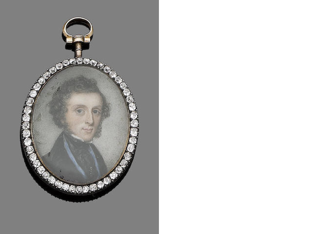 An early 19th century diamond-set portrait miniature,