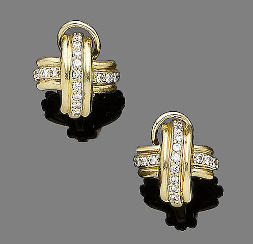 A pair of diamond-set earclips, by Tiffany & Co.