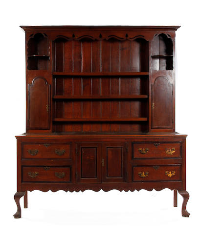 A George III style oak and mahogany crossbanded high dresser