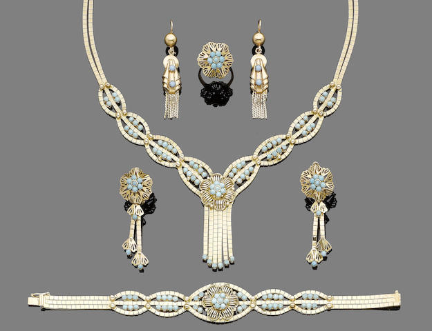 A turquoise tassel necklace, bracelet, earrings and ring suite (5)