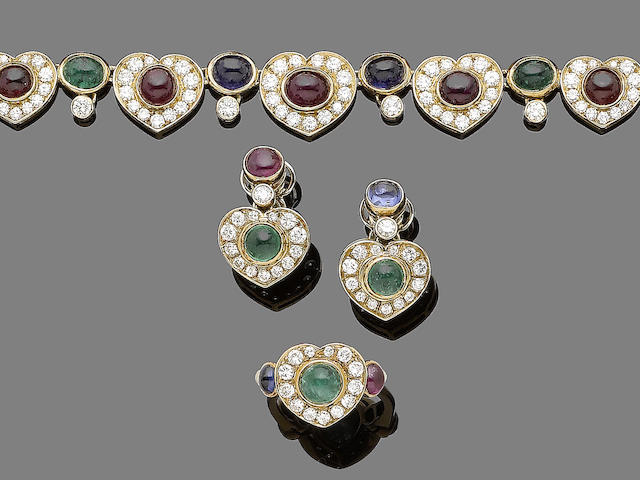 A ruby, sapphire, emerald and diamond necklace, earring and ring suite (3)