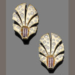 A pair of ruby and diamond clip brooches, (2)