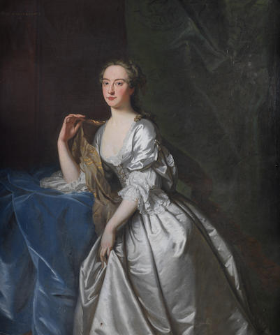 Circle of Thomas Hudson (Devon 1701-1779 Twickenham) Portrait of a lady, said to be Anne, Countess Temple (1709-1777),
