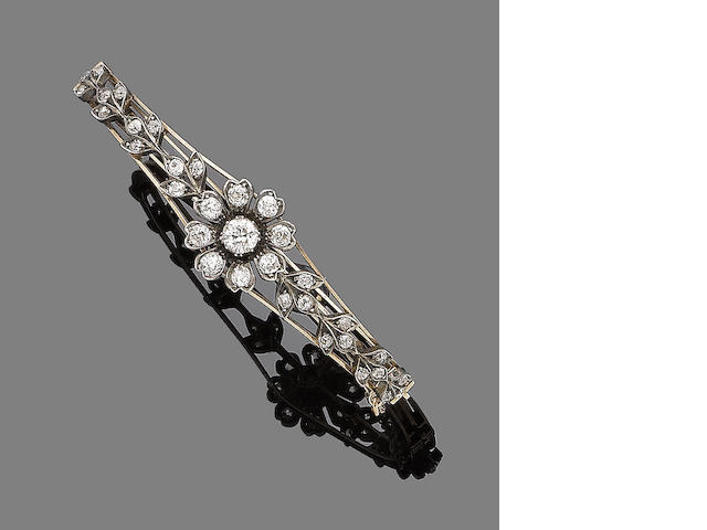 A late 19th century diamond bangle,