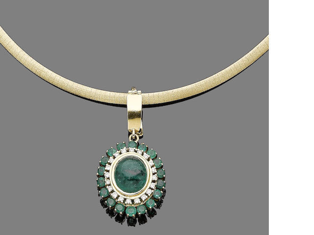 An emerald and diamond pendant collar necklace