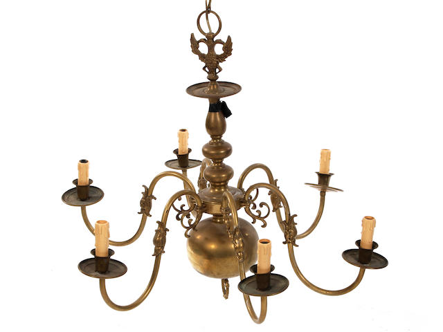 A Dutch-style brass six-branch chandelier